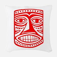 Tiki Mask 02 Woven Throw Pillow