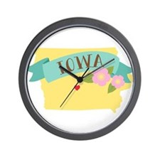 Iowa State Outline Wild Prairie Rose Flower Wall C