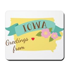 Iowa State Outline Wild Prairie Rose Flower Greeti