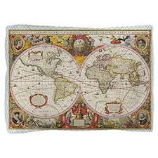 Antique World Map Pillow Sham