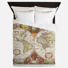 Antique World Map Queen Duvet