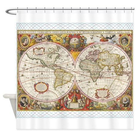 Antique World Map Shower Curtain By FunnyGiftsIdeas