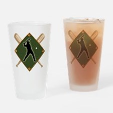 Baseball Diamond with Crossed Bats Drinking Glass