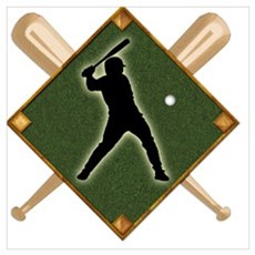 Baseball Diamond with Crossed Bats Poster