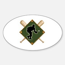 Baseball Diamond with Crossed Bats Decal