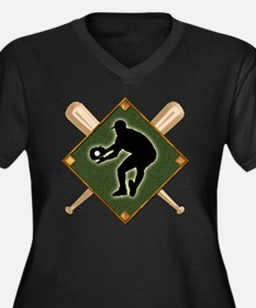 Baseball Dia Women's Plus Size V-Neck Dark T-Shirt
