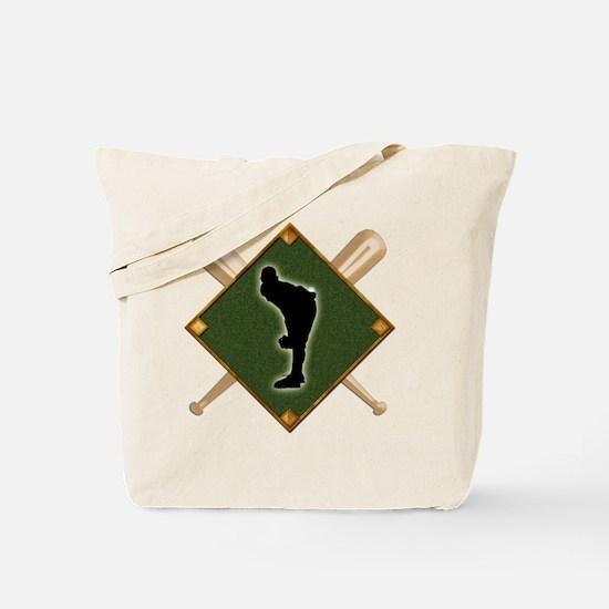 Baseball Diamond with Crossed Bats Tote Bag