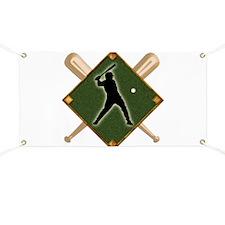 Baseball Diamond with Crossed Bats and Batt Banner