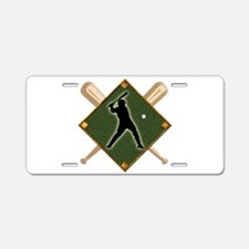 Baseball Diamond with Cross Aluminum License Plate