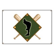 Baseball Diamond with Crossed Bats and Pitc Banner