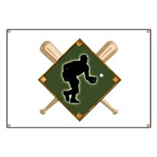 Baseball Diamond with Crossed Bats and Fiel Banner