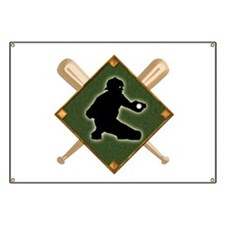 Baseball Diamond with Crossed Bats and Catc Banner