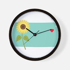 Kansas State Outline Sunflower Wall Clock