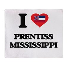 I love Prentiss Mississippi Throw Blanket