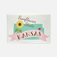 Kansas State Outline Sunflower Magnets