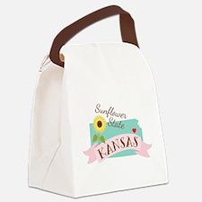 Kansas State Outline Sunflower Canvas Lunch Bag