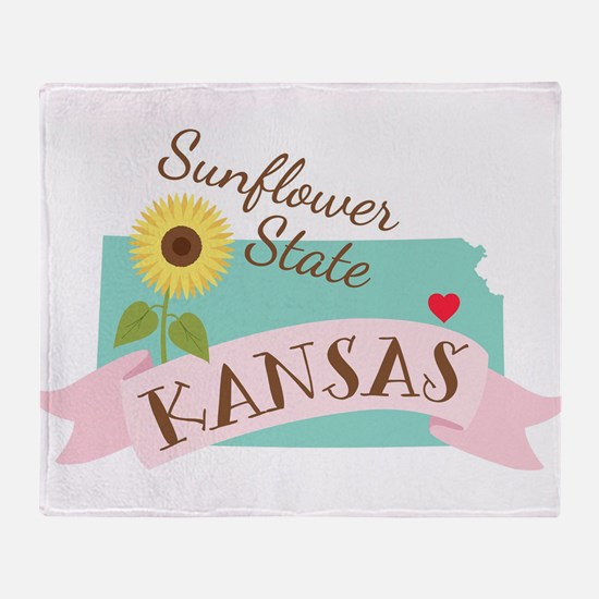 Kansas State Outline Sunflower Throw Blanket