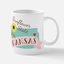 Kansas State Outline Sunflower Mugs