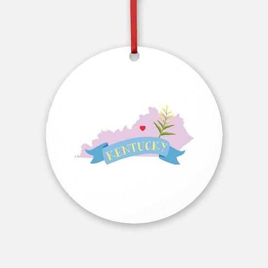 Kentucky State Outline Goldenrod Flower Ornament (