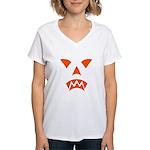 Pumpkin Face Women's V-Neck T-Shirt