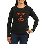 Pumpkin Face Women's Long Sleeve Dark T-Shirt