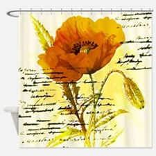 Cool Orange flower poppy Shower Curtain