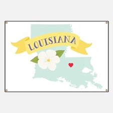Louisiana State Outline Magnolia Flower Greetings