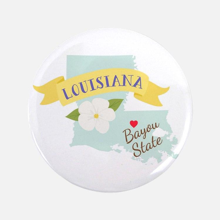 Louisiana Bayou State Outline Magnolia Flower Butt