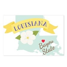 Louisiana Bayou State Outline Magnolia Flower Post
