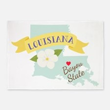 Louisiana Bayou State Outline Magnolia Flower 5'x7