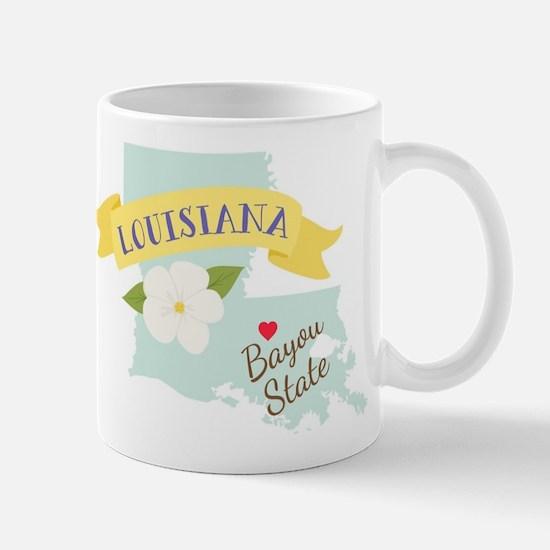 Louisiana Bayou State Outline Magnolia Flower Mugs
