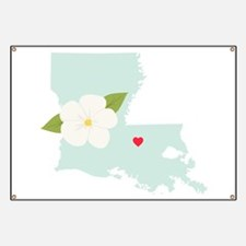 Louisiana State Outline Magnolia Flower Banner