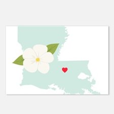 Louisiana State Outline Magnolia Flower Postcards