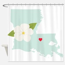 Louisiana State Outline Magnolia Flower Shower Cur