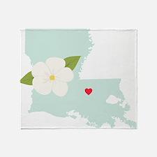 Louisiana State Outline Magnolia Flower Throw Blan