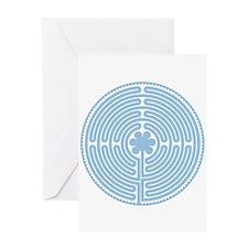 Blue Labyrinth Greeting Card