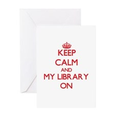 Keep Calm and My Library ON Greeting Cards