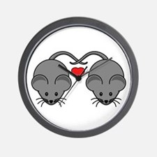 Mouse Love Couple with Two Black Mice Wall Clock