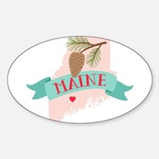 Maine State Outline Pine Cone Tree Decal