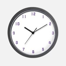 Purple Clock Numbers Wall Clock