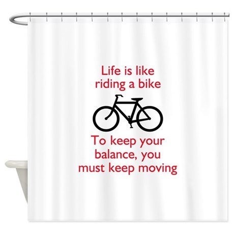 life is like riding a bike shower curtain by greatnotions33. Black Bedroom Furniture Sets. Home Design Ideas
