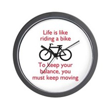 Life Is Like Riding A Bike Wall Clock