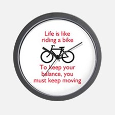 Life Is Like Riding A Bike Wall Clock