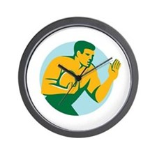 Rugby Player Fend Off Circle Retro Wall Clock