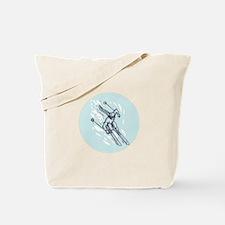 Skiing Slalom Circle Etching Tote Bag