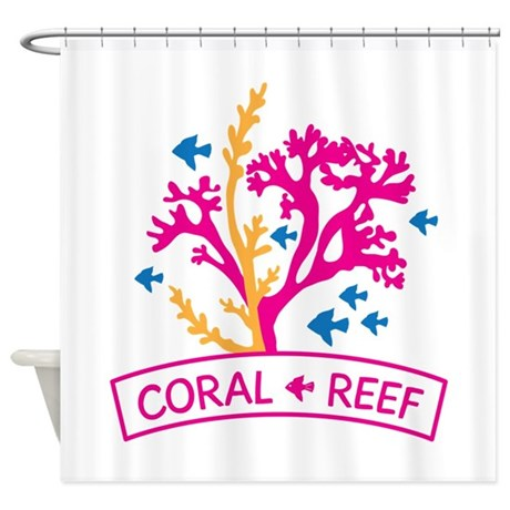 Coral reef and fish shower curtain by embroidery22 for Coral reef bathroom decor