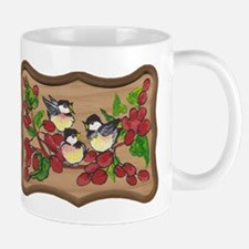 chickadees and berries Mugs