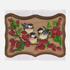 chickadees and berries Throw Blanket