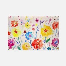 Watercolor Abstract Poppy Blue Ba Rectangle Magnet