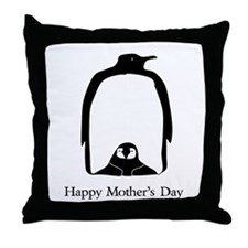 Mother's Day Penguins Throw Pillow